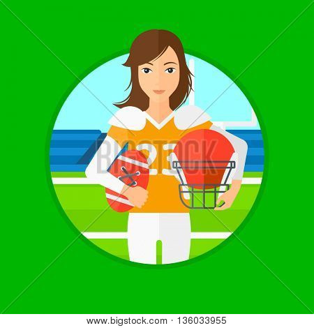 Young professional rugby player holding ball and helmet in hands. Female rugby player in uniform standing on rugby stadium. Vector flat design illustration in the circle isolated on background.