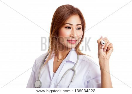 Young Asian Female Doctor With Red Marker Focus At Marker