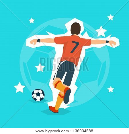 Football Player Kick Ball Sport Championship Flat Vector Illustration