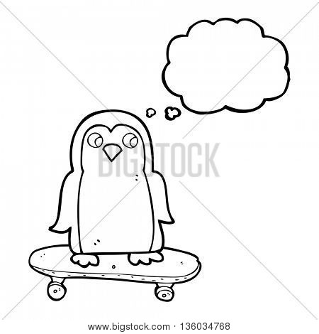 freehand drawn thought bubble cartoon penguin riding skateboard