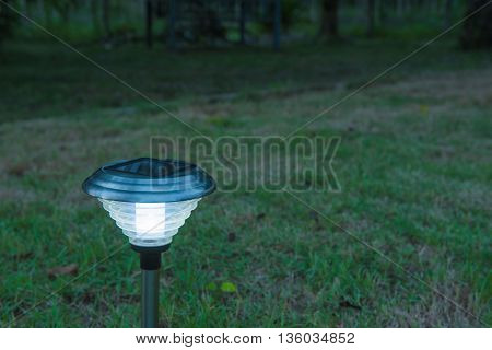 Solar Light in the grass. Clean energy