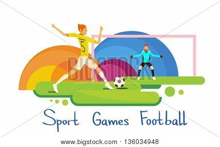 Football Player Athlete Sport Competition Colorful Banner Flat Vector Illustration