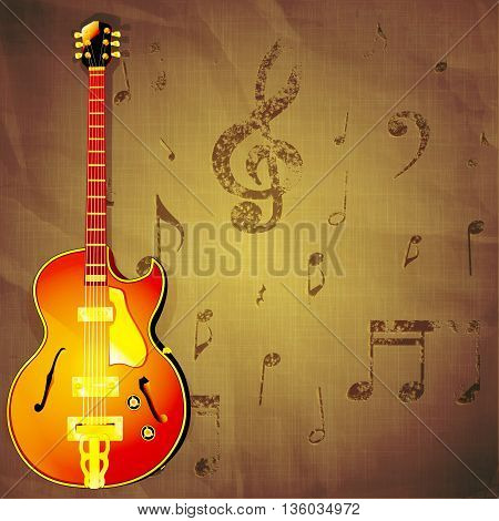 Vector illustration of a classic jazz guitar on old crumpled paper background with music notes.