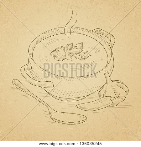 Pot of hot soup. Soup hand drawn on old paper vintage background. Soup vector sketch illustration.