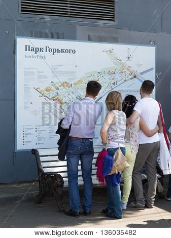 Moscow - May 9 2016: People studying the map to visit and relax in the Gorky Park May 9 2016 Moscow Russia