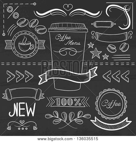 Set of vintage labels, ribbons, frames, banners, logo and advertisements for coffee menu board for restaurant and coffee shop. Hand drawn in chalk on a blackboard vector sketch illustration.