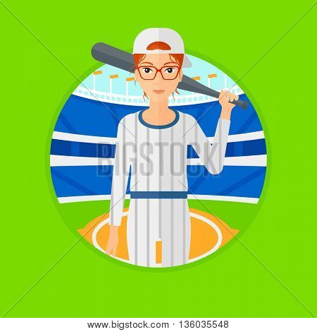 Young female baseball player standing on a baseball stadium. Female professional baseball player holding a bat on baseball field. Vector flat design illustration in the circle isolated on background.