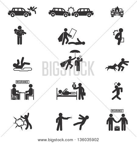 Insurance icons vector. Protection insurance, business insurance, accident insurance illustration