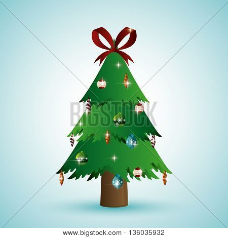Merry Christmas concept represented by pine tree and icon. Colorfull and flat illustration