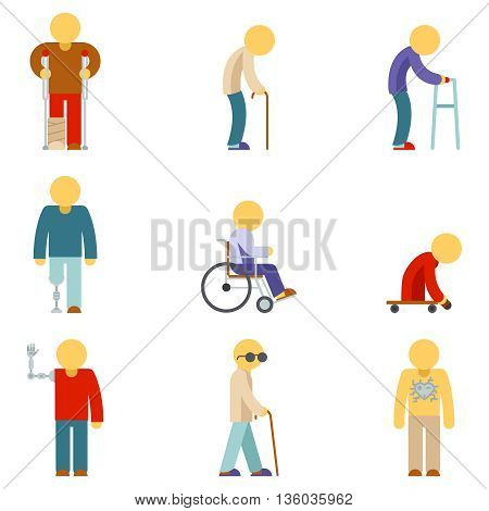 Disability flat icons. Disabled people flat signs. Disabled patient, help disabled people, disabled person, vector illustration