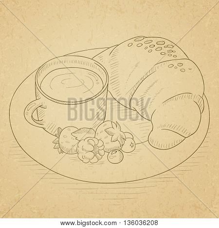 Breakfast with cup of coffee, croissant and berries on plate. Breakfast hand drawn on old paper vintage background. Breakfast vector sketch illustration.