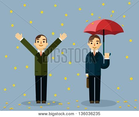 Businessman under money rain. Businessman umbrella standing under rain  golden coins. Businessman money, finance coin money rain, business coin rain, dollar coin rain. Vector illustration
