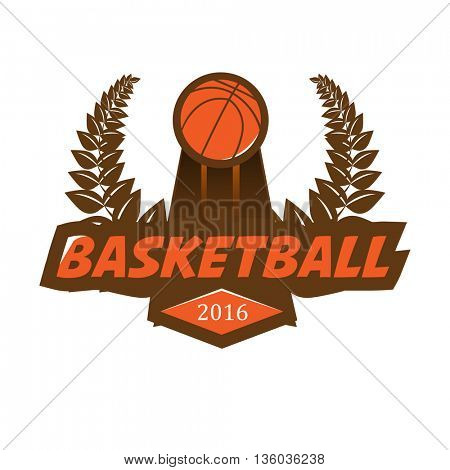Basketball championship logo with ball, laurel wreath.