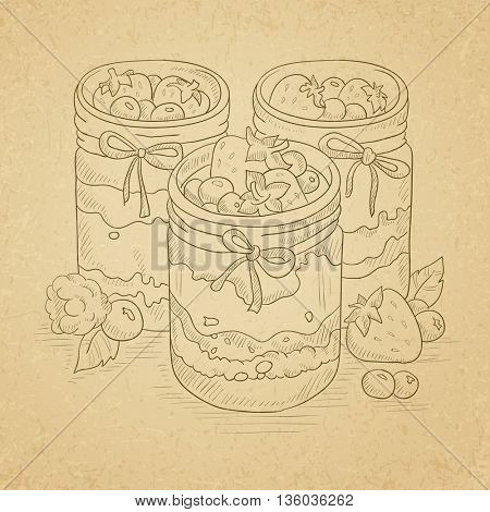 Jam in glass jars and fresh berries. Jam jar hand drawn on old paper vintage background. Jam jar vector sketch illustration.