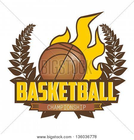 Basketball championship logo with ball