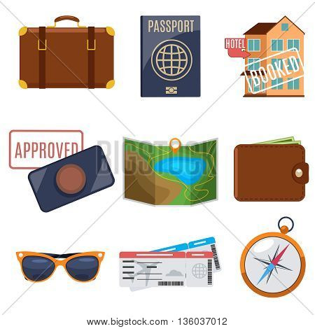 Visa application and vacation icons. Passport for vacation, travel vacation, visa vacation. Vector illustration