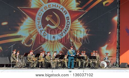 Moscow - May 9 2016: Speech by a military band musicians on the stage of Gorky Park on Victory Day May 9 2016 Moscow Russia