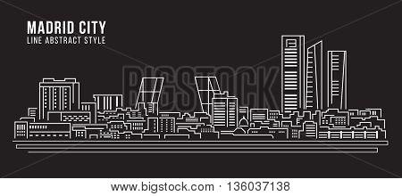 Cityscape Building Line art Vector Illustration design - Madrid city