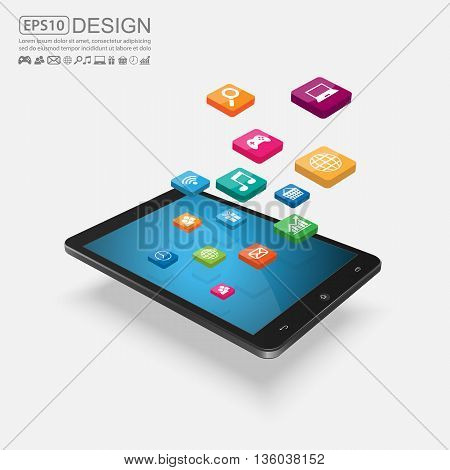 Internet of things concept, Touchscreen Smartphone with Application Icons. vector