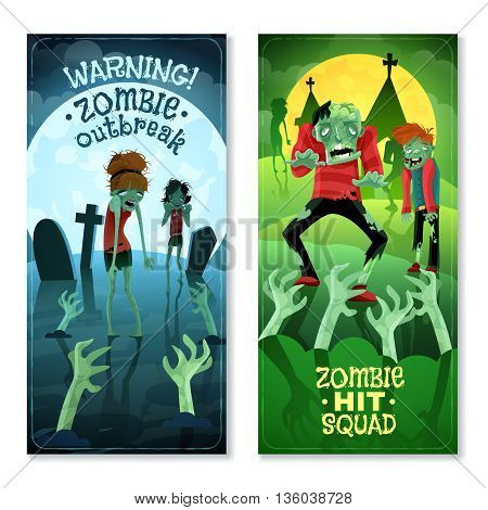 Zombie vertical cartoon banners set with zombie squad symbols isolated vector illustration