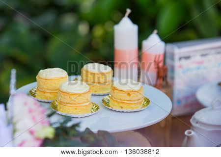 Dessert table with cakes decorated for a outdoor party