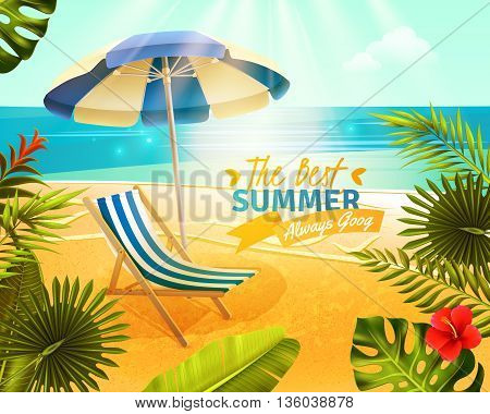 Tropical resort with beach sea and palm trees cartoon vector illustration