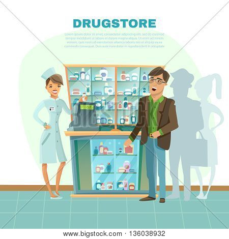 Drugstore with pharmacist in uniform customer and medical bottles cartoon vector illustration