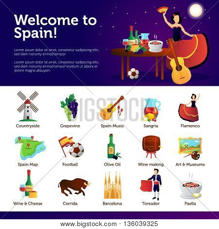 Spain information for tourists on main cultural national attractions food and sightseeing infographic symbols banners vector illustration