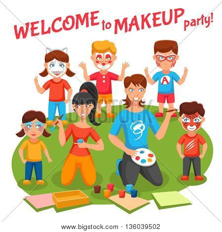 Welcome to makeup party concept with children and adults flat vector illustration