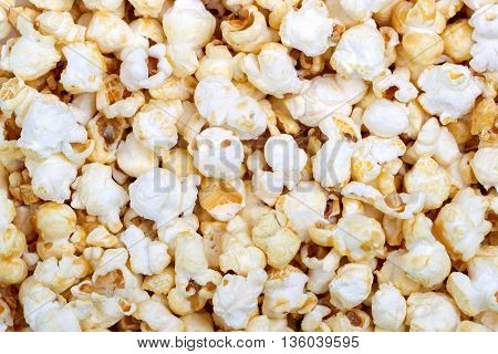 Popcorn texture background. Close up.  Top view
