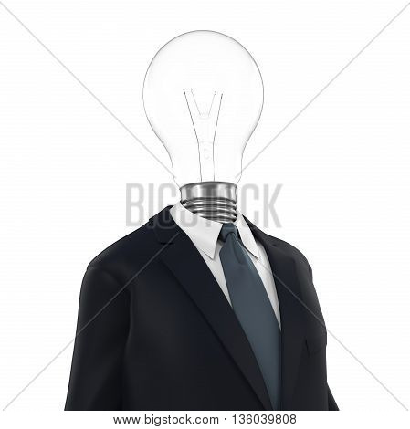 Business Man with Light Bulb Head isolated on white background. 3D render