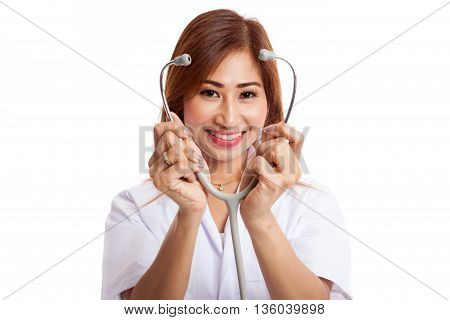 Young Asian Female Doctor Show Stethoscope Focus At Stethoscope