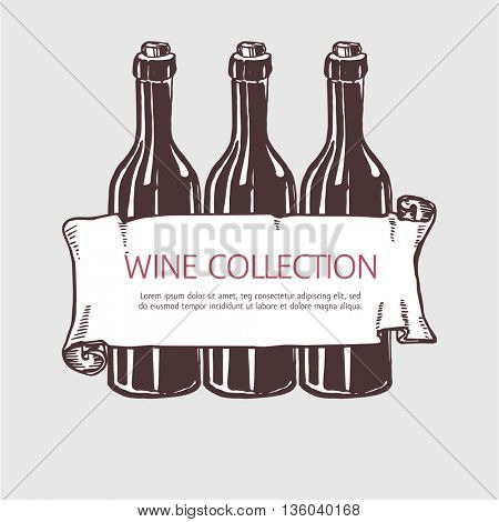 Wine bottle collection with banner.