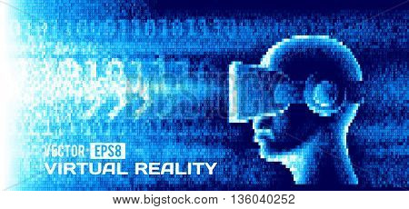 Vector man with glasses of virtual reality in the bnary stream. Eps8. RGB. Global colors