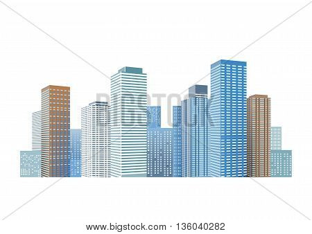 Cityscape with skyscrapers,  illustration, metropolis, reflection, architecture, isolated