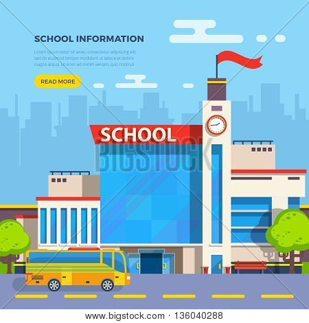 School building and school bus on cityscape background flat vector illustration