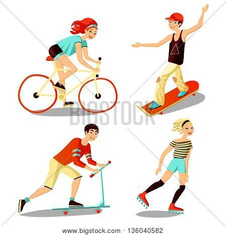 Images people mini set of young riders including roller skateboarder bicyclist scooter cartoon isolated vector illustration