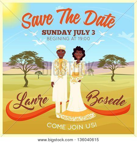 Africans wedding couple on desert background invitation poster flat vector illustration