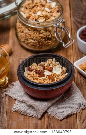Granola, Honey, Nuts And Raisins