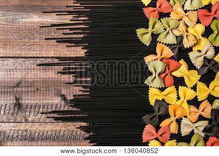 Black Raw Long Spaghetti With Colorful Farfalle