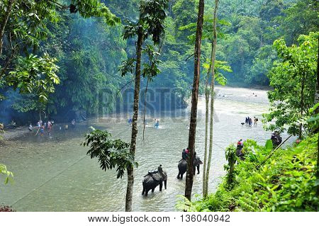 SUMATRA, INDONESIA - 27 MAY 2015: Elephant trekking in the Batang River in Gunung Leuser National Park of Tangkahan in 27 May 2015