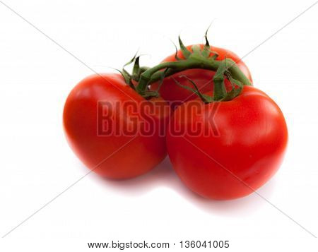 3 Tomatoes on an isolated white background