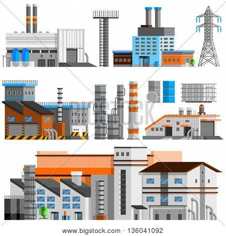 Industrial buildings orthogonal set with pipes flat isolated vector illustration