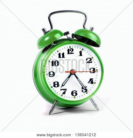 Alarm clock green isolated on white