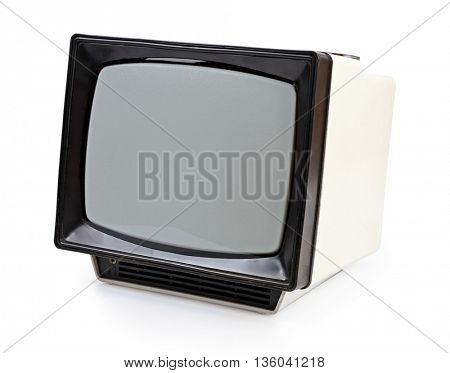 Vintage portable TV set isolated on white