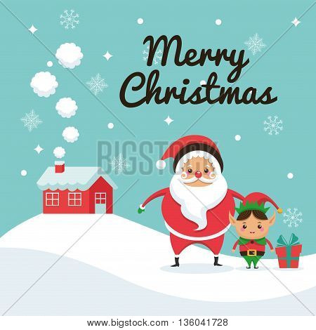 Merry Christmas concept represented by santa and elf cartoon icon. Colorfull illustration and Blue background