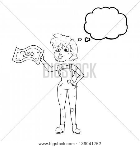 freehand drawn thought bubble cartoon confident farmer woman with money
