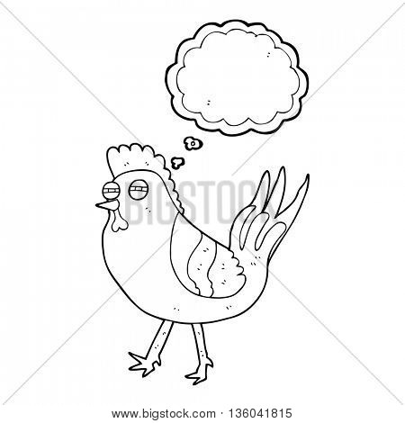 freehand drawn thought bubble cartoon chicken
