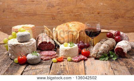 wine, cheese, and salami