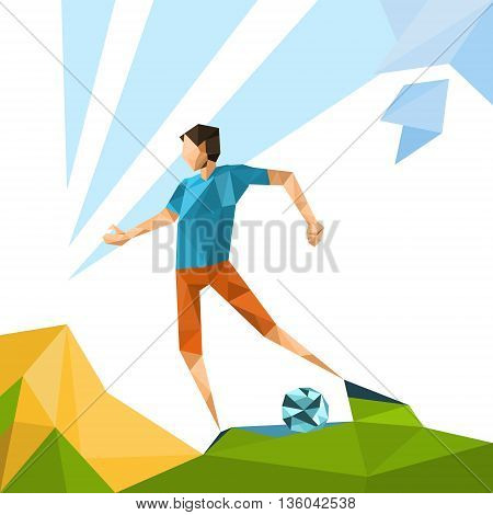 Football Player Sport Game Competition Vector Illustration